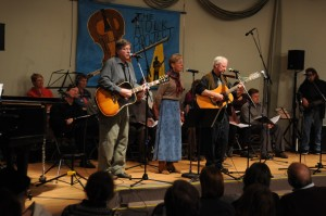 Neely, Emmert and Bly at the Folk Project, with Headlong Retreat friends