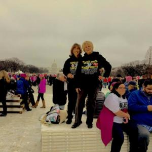 Louise Miles and friend at Women's March
